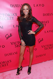 Selita Ebanks dazzled in black spiked Givenchy sandals. The heels matched the rock n' roll vibe of her LaQuan Smith mini.