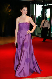 Julianna looks like a lavender princess in a strapless evening gown.