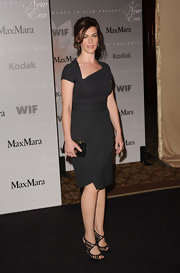 Maggie Siff styled her Women in Film Crystal and Lucy Awards look with a black purse with metal hardware details.