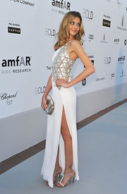 Ana Beatriz Barros sparkled from head to toe in an embellished gown and a pair of bejeweled silver sandals at the 2010 amfAR Gala.