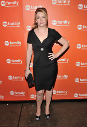 Melissa Joan Hart played up the crystal detail on her dress with black satin pumps with crystal-adorned toes.