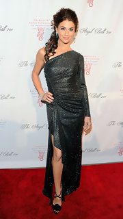 Samantha Harris shimmered at the Angel Ball in a one-shoulder gown with a gathered bodice.