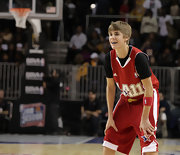 Justin puts on his game gear for the NBA All-Star game in Los Angeles.