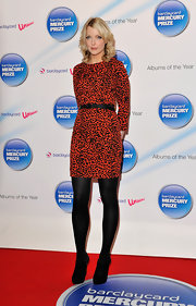 Lauren Laverne stepped out at the 'Albums of the Year' launch in a black and red cheetah-print frock. She paired the look with opaque tights and cinched her waist with a belt.