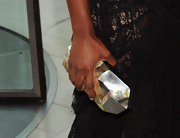 Tika Sumpter accessorized with a modern-looking geometric mother-of-pearl clutch at the 2011 CFDA Fashion Awards.