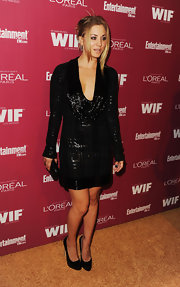 Kaley Cuoco opted for a black sparkly ensemble at the 'Entertainment Weekly' soiree. She finished off the look with a classic black clutch.