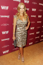 Julie Benz shined at the 'Entertainment Weekly' soiree in a beaded V-neck dress. She paired the look with blond retro curls and silver strappy heels.