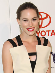 Christa B. Allen accented her black and beige dress with a bold pop of red lipstick at the 2011 Environmental Media Awards.