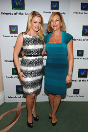 Melissa Joan Hart was lacy in a black and white cocktail dress at the Families Matter Benefit and Celebration.