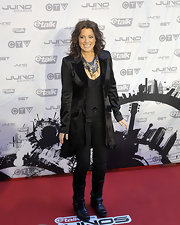 Sarah McLachlan paired her monochromatic Juno Awards look with black leather mid-calf motorcycle boots.