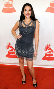 Barbara Mori struck a pose in a beautiful beaded dress at the Latin Recording Academy's Person of the Year event.