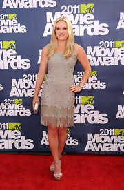 Lindsey Vonn donned a sparkling fringed cocktail dress for the MTV Movie Awards' red carpet.