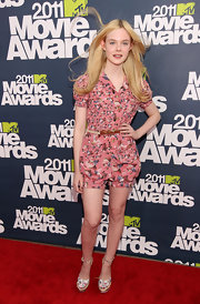 Elle Fanning got girlish at the MTV Movie Awards in darling pink floral print canvas wedges lined with espadrille.