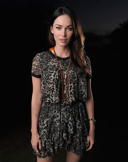 Megan Fox attended the Maui Film Festival wearing a cheetah print day dress that was cinched at the waist.