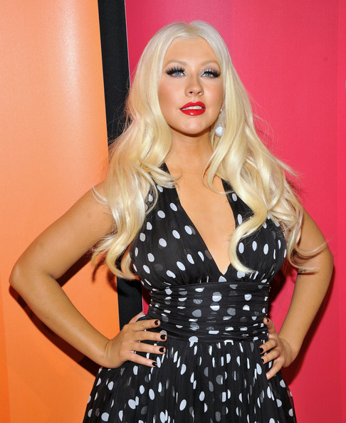 More Pics of Christina Aguilera Long Curls (1 of 7) - Christina Aguilera Lookbook - StyleBistro