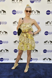 Jaime King gave her floral frock an unexpected finish with nude lac-eup Zen peep-toe booties.