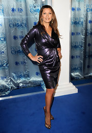 Vanessa Williams struck a sultry pose in crystal-embellished Maralena peep toes. The sheer mesh heels added a sexy finish to Vanessa's metallic cocktail dress.