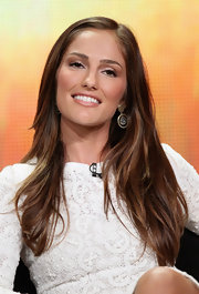 Minka Kelly made an appearance at the Summer TV Critics Association press tour in Beverly Hills wearing a pair of gold dangle earrings with a silver center.