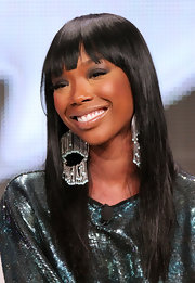 Brandy shined at the 2011 Summer TCA Tour and so did her hair. Straight and glossy with blunt, brow-length bangs was the perfect style for the evening.
