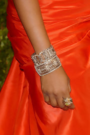 Jennifer Hudson brought out the glitz with two stack ed diamond bracelets.