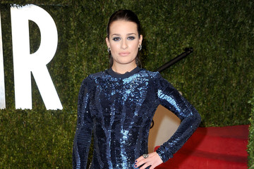 Lea Michele Sparkles in Navy at the Vanity Fair Oscars Party