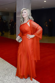 Morgan Fairchild unleashed her inner goddess in a fiery red one-shoulder gown at the 2011 White House Correspondents' Association Dinner.