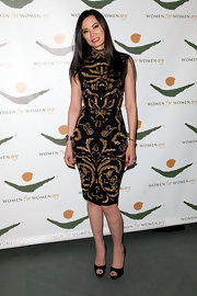 Wendi Deng partnered black with black as she hit the 2011 Women for Women International Gala with a pair of platform peep-toes.