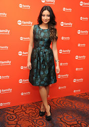 Shay Mitchell wore this brocade teal dress to the ABC Family Upfront event.