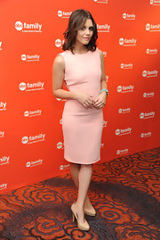 Alexandra Chando looked super-sophisticated in this pink sheath dress for the ABC Family event in NYC.
