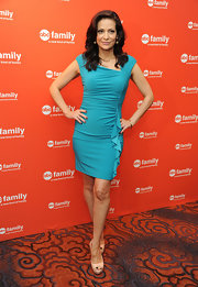 Constance Marie heated up the ABC red carpet with this aqua knit number.
