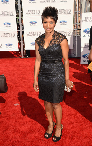 Angela Bassett in black lace