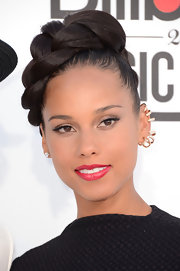 Alicia Keys wore her hair styled in a large glossy braid for the 2012 Billboard Music Awards.