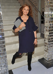 Diane von Furstenerg wore this navy shift dress to the CFDA nominee announcement.