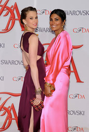 Elettra Wiedemann's graphic-print clutch and purple dress at the 2012 CFDA Fashion Awards were a super-chic pairing.