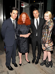 Grace Coddington looked chic in a black brocade three-quarter sleeve dress at the 2012 CFDA fashion awards dinner.