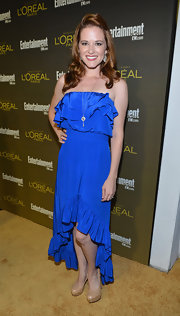 Sarah Drew was the belle of the ball in a blue strapless dress at the Entertainment Weekly Pre-Emmy Party.