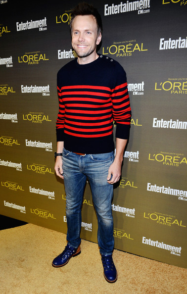 Buttoned shoulders and bold sailor-inspired stripes gave Joel's sweater a timeless aesthetic.