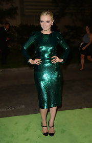 Francesca literally shined in this true green sequined dress at the Environmental Media Awards.