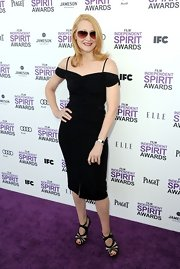Patricia Clarkson wore this sassy off-the-shoulder LBD to the Independent Spirit Awards.