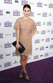 Blanca Suarez wore this sweet nude laser cut frock to the Independent Spirit Awards.