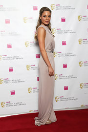 Charlotte Jackson wore this pearl silk Grecian gown to the British Academy Video Games Awards.