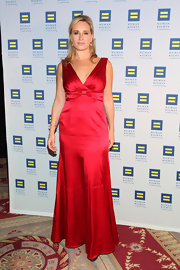 Sonja Morgan wore a vibrant red silk gown to the Human Rights Campaign Gala.