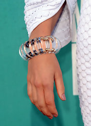 Jessica Biel accessorized her mod dress with a funky clear bracelet at the 2012 MTV Movie Awards.