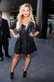 Demi took the little black dress to a whole new level with this glittering rocker style.