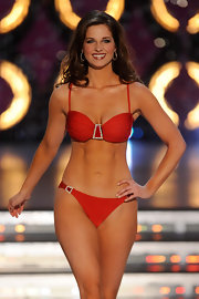 Hope Anderson proved that even swimwear can benefit from a little glitz, her hot red number stole the show at the 2012 Miss America Pageant.