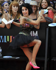 Pheobe Dykstra got silly at the MuchMusic Video Awards in this beaded tulle dress.