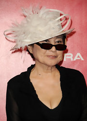 Yoko Ono accessorized with a pair of dark rectangular frames at the MusiCares tribute to Paul McCartney.