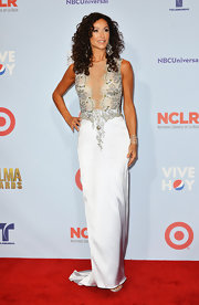 Sofia Milos showed off her statuesque and elegant figure in this beaded evening dress with nude mesh at the ALMA Awards.