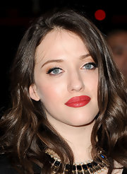 Kat Dennings wore a rich red satin-finish lipstick at the 2012 People's Choice Awards.