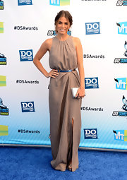 Nikki Reed was demure yet elegant in this tan pleated dress at the Do Something Awards.